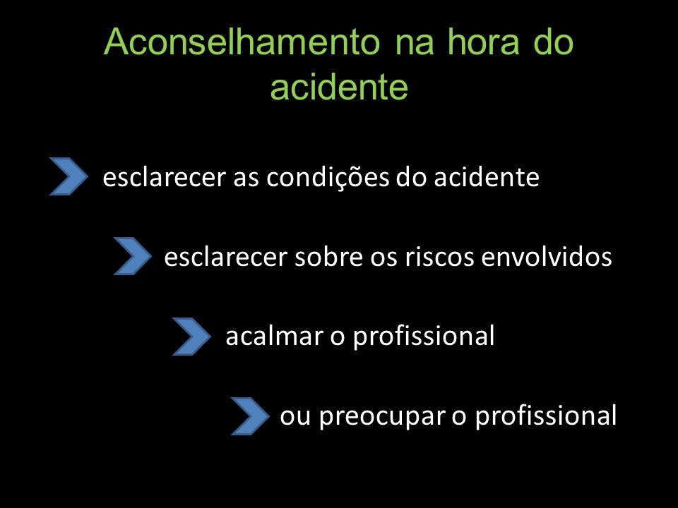 Aconselhamento na hora do acidente esclarecer as condições do acidente esclarecer sobre os riscos envolvidos acalmar o profissional ou preocupar o pro
