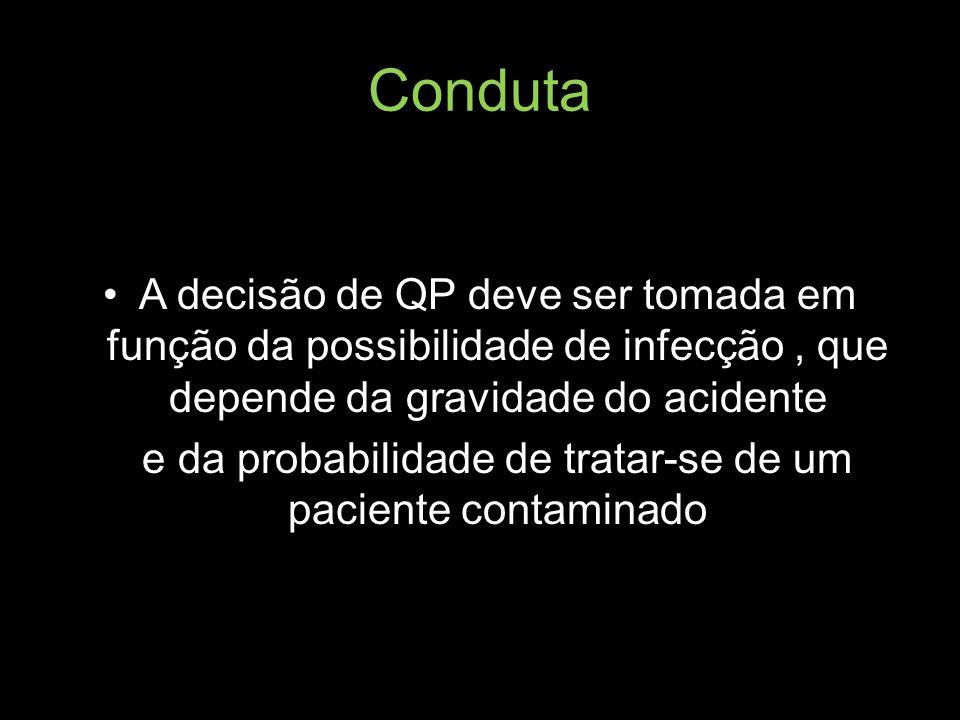 Conduta A decisão de QP deve ser tomada em função da possibilidade de infecção, que depende da gravidade do acidente e da probabilidade de tratar-se d