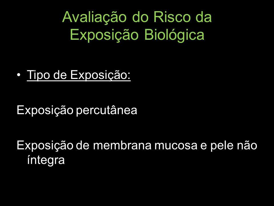 Avaliação do Risco da Exposição Biológica Tipo de Exposição: Exposição percutânea Exposição de membrana mucosa e pele não íntegra