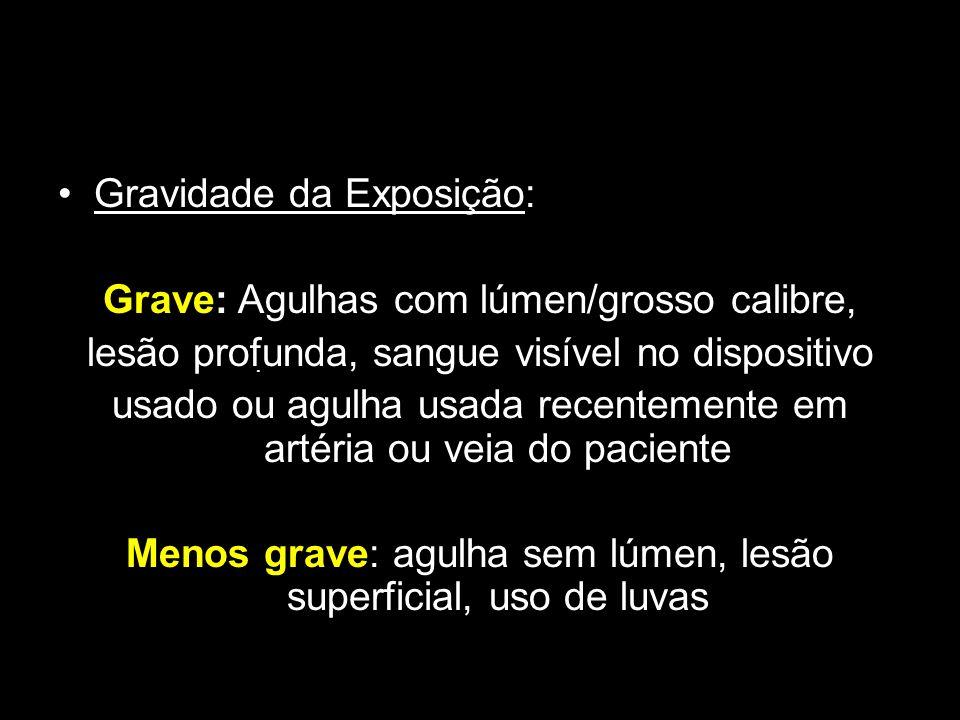 Gravidade da Exposição: Grave: Agulhas com lúmen/grosso calibre, lesão profunda, sangue visível no dispositivo usado ou agulha usada recentemente em a