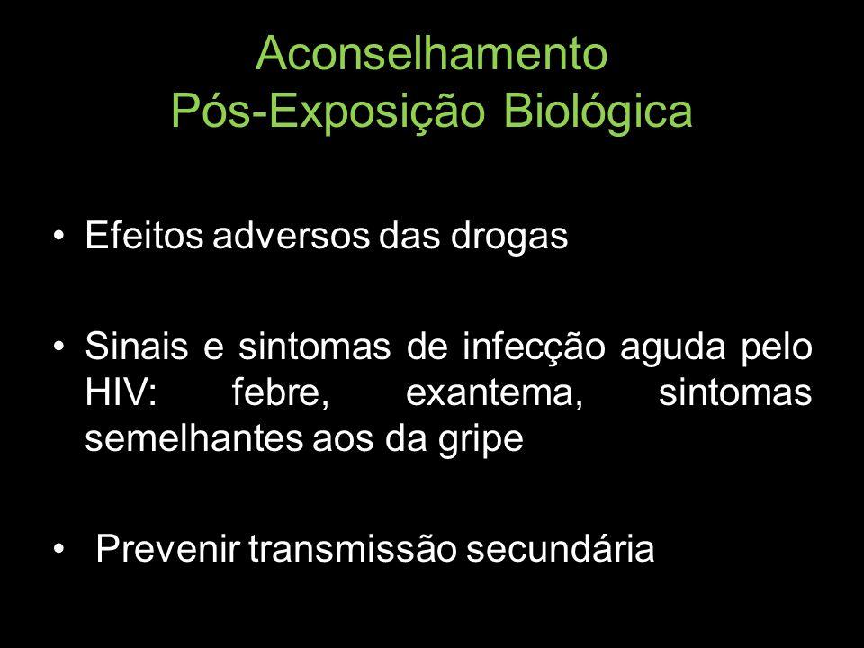 Aconselhamento Pós-Exposição Biológica Efeitos adversos das drogas Sinais e sintomas de infecção aguda pelo HIV: febre, exantema, sintomas semelhantes