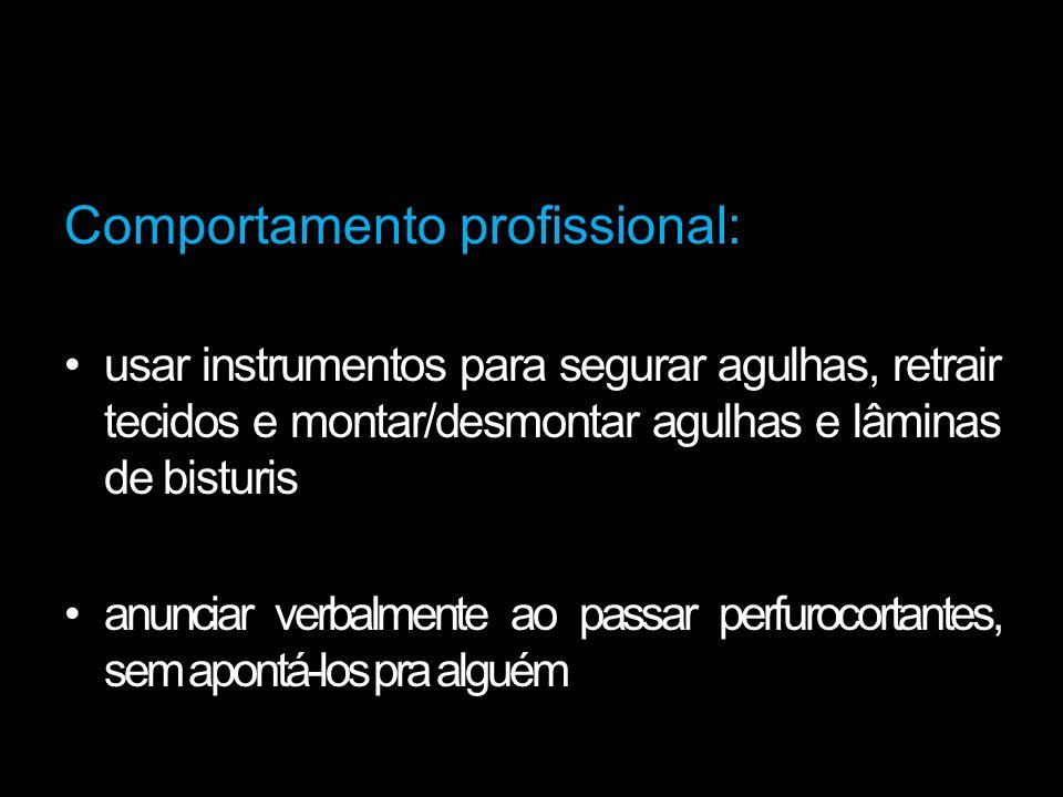 Comportamento profissional: usar instrumentos para segurar agulhas, retrair tecidos e montar/desmontar agulhas e lâminas de bisturis anunciar verbalme