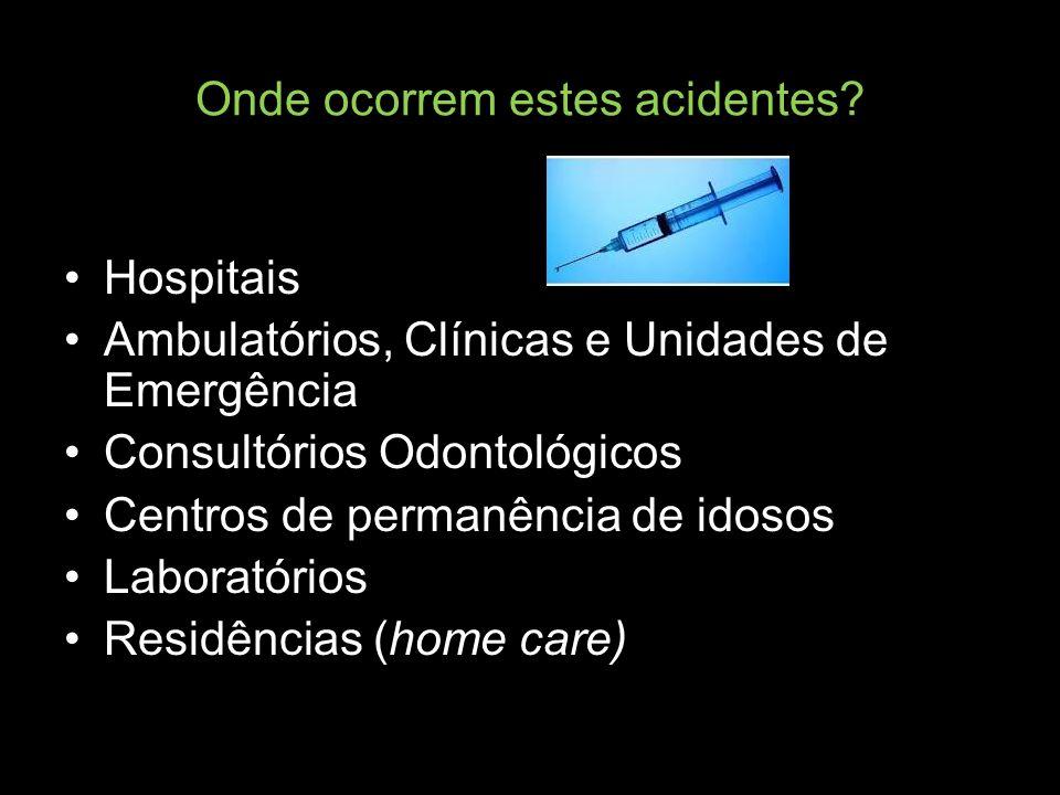 Onde ocorrem estes acidentes? Hospitais Ambulatórios, Clínicas e Unidades de Emergência Consultórios Odontológicos Centros de permanência de idosos La