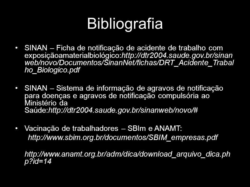 Bibliografia SINAN – Ficha de notificação de acidente de trabalho com exposiçãoamaterialbiológico:http://dtr2004.saude.gov.br/sinan web/novo/Documento
