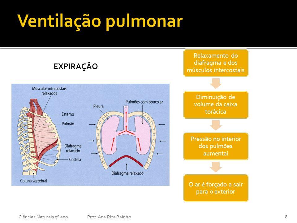 EXPIRAÇÃO Ciências Naturais 9º anoProf. Ana Rita Rainho8 Relaxamento do diafragma e dos músculos intercostais Diminuição de volume da caixa torácica P