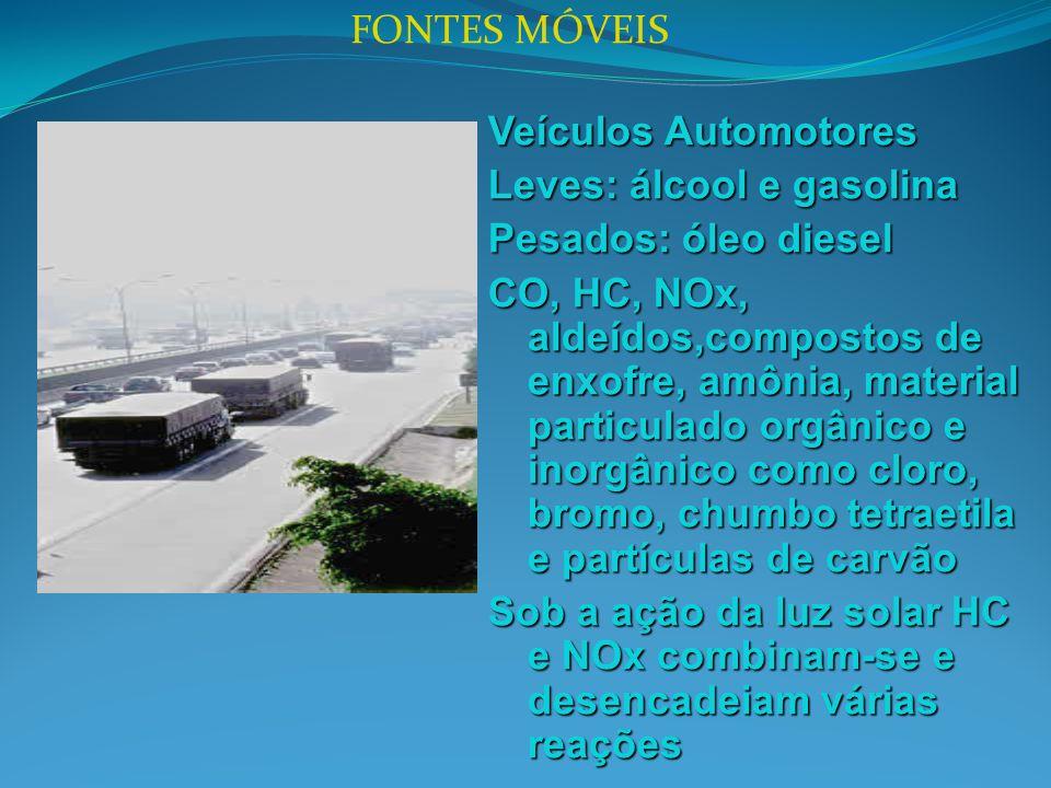 FONTES MÓVEIS Veículos Automotores Leves: álcool e gasolina Pesados: óleo diesel CO, HC, NOx, aldeídos,compostos de enxofre, amônia, material particul