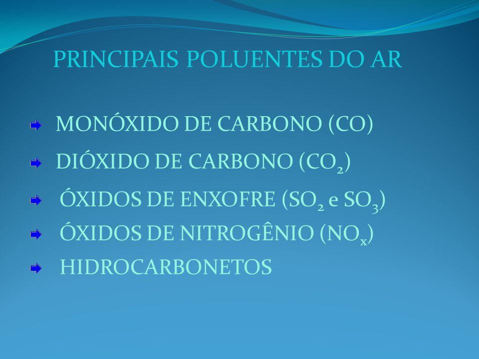 PRINCIPAIS POLUENTES DO AR MONÓXIDO DE CARBONO (CO) DIÓXIDO DE CARBONO (CO 2 ) ÓXIDOS DE ENXOFRE (SO 2 e SO 3 ) ÓXIDOS DE NITROGÊNIO (NO x ) HIDROCARBONETOS