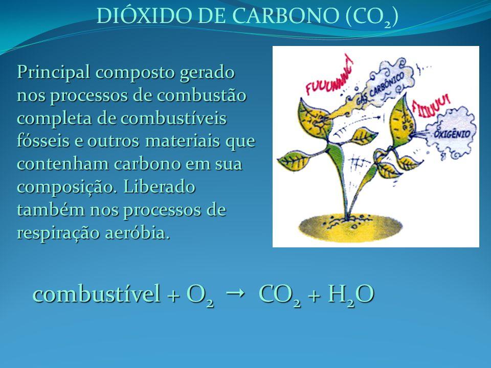 DIÓXIDO DE CARBONO (CO 2 ) Principal composto gerado nos processos de combustão completa de combustíveis fósseis e outros materiais que contenham carb