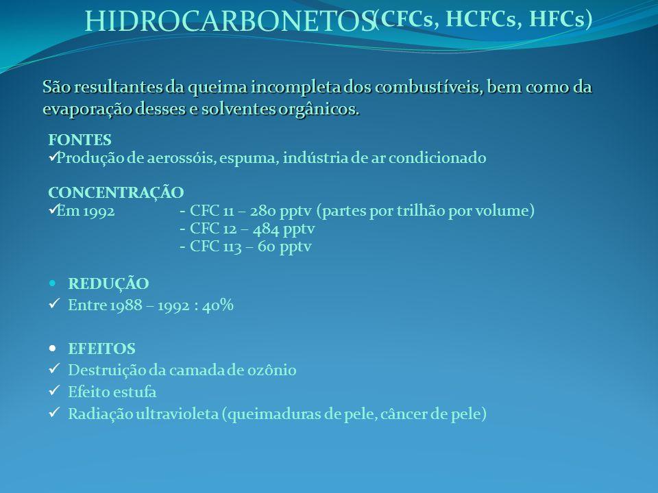 HIDROCARBONETOS São resultantes da queima incompleta dos combustíveis, bem como da evaporação desses e solventes orgânicos. (CFCs, HCFCs, HFCs) FONTES