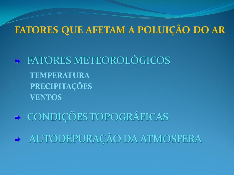 FATORES QUE AFETAM A POLUIÇÃO DO AR FATORES METEOROLÓGICOS FATORES METEOROLÓGICOS CONDIÇÕES TOPOGRÁFICAS CONDIÇÕES TOPOGRÁFICAS AUTODEPURAÇÃO DA ATMOSFERA TEMPERATURA PRECIPITAÇÕES VENTOS