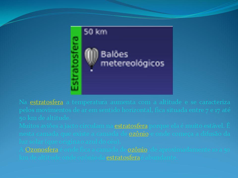 Na estratosfera a temperatura aumenta com a altitude e se caracteriza pelos movimentos de ar em sentido horizontal, fica situada entre 7 e 17 até 50 k