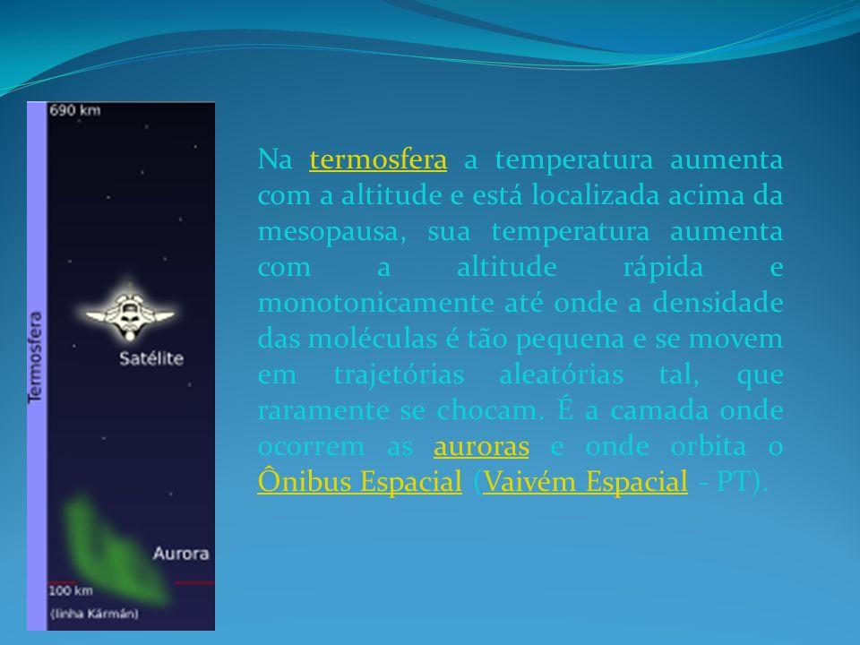 Na termosfera a temperatura aumenta com a altitude e está localizada acima da mesopausa, sua temperatura aumenta com a altitude rápida e monotonicamen