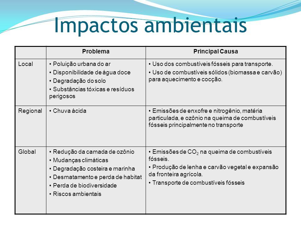 Impactos ambientais ProblemaPrincipal Causa Local Poluição urbana do ar Disponibilidade de água doce Degradação do solo Substâncias tóxicas e resíduos perigosos Uso dos combustíveis fósseis para transporte.