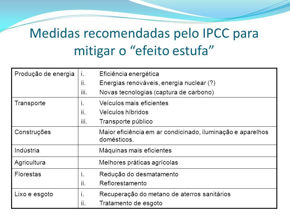Medidas recomendadas pelo IPCC para mitigar o efeito estufa Produção de energiai.Eficiência energética ii.Energias renováveis, energia nuclear (?) iii.Novas tecnologias (captura de carbono) Transportei.Veículos mais eficientes ii.Veículos híbridos iii.Transporte público Construções Maior eficiência em ar condicinado, iluminação e aparelhos domésticos.