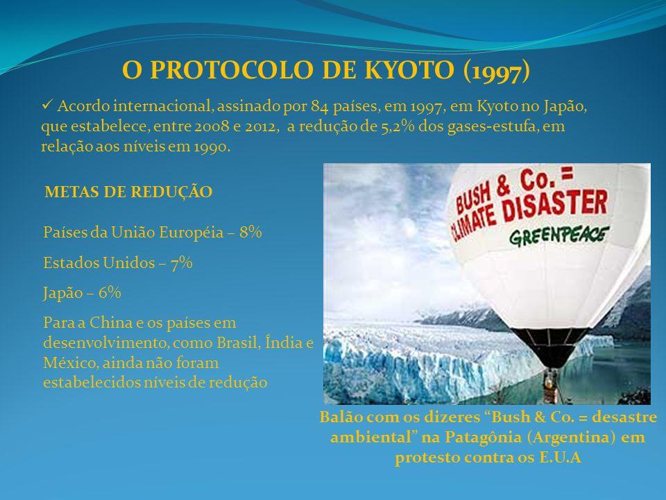 O PROTOCOLO DE KYOTO (1997) Acordo internacional, assinado por 84 países, em 1997, em Kyoto no Japão, que estabelece, entre 2008 e 2012, a redução de 5,2% dos gases-estufa, em relação aos níveis em 1990.