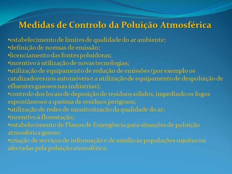 Medidas de Controlo da Poluição Atmosférica estabelecimento de limites de qualidade do ar ambiente; definição de normas de emissão; licenciamento das