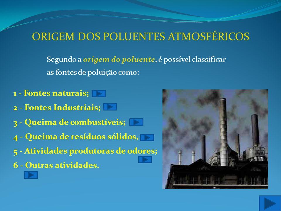 ORIGEM DOS POLUENTES ATMOSFÉRICOS Segundo a origem do poluente, é possível classificar as fontes de poluição como: 1 - Fontes naturais; 2 - Fontes Industriais; 3 - Queima de combustíveis; 4 - Queima de resíduos sólidos, 5 - Atividades produtoras de odores; 6 - Outras atividades.