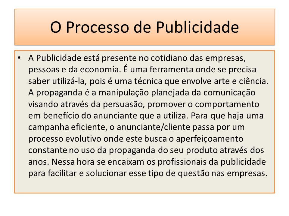 O Processo de Publicidade A Publicidade está presente no cotidiano das empresas, pessoas e da economia. É uma ferramenta onde se precisa saber utilizá