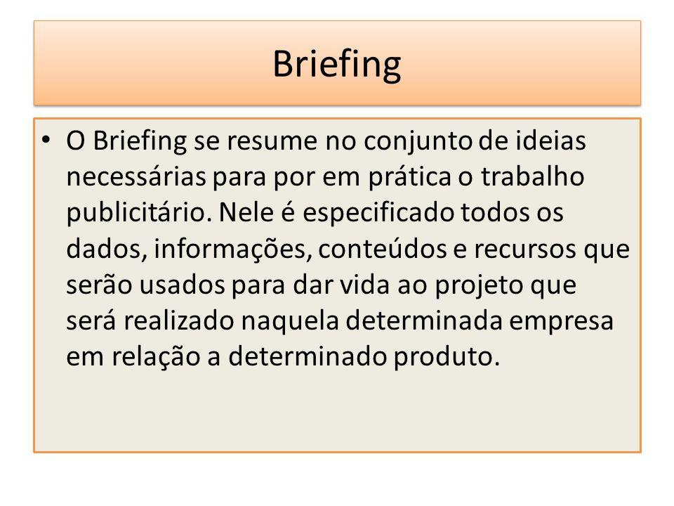 Briefing O Briefing se resume no conjunto de ideias necessárias para por em prática o trabalho publicitário. Nele é especificado todos os dados, infor