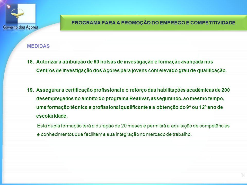 MEDIDAS 18.Autorizar a atribuição de 60 bolsas de investigação e formação avançada nos Centros de Investigação dos Açores para jovens com elevado grau de qualificação.