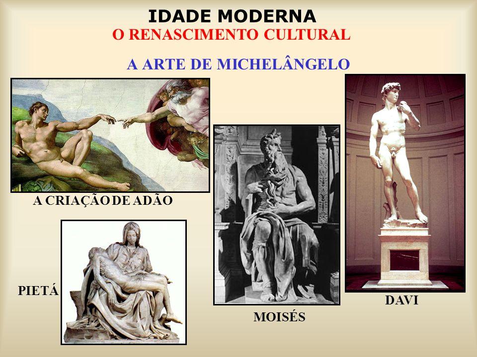 IDADE MODERNA O RENASCIMENTO CULTURAL A ARTE DE MICHELÂNGELO MOISÉS DAVI PIETÁ A CRIAÇÃO DE ADÃO