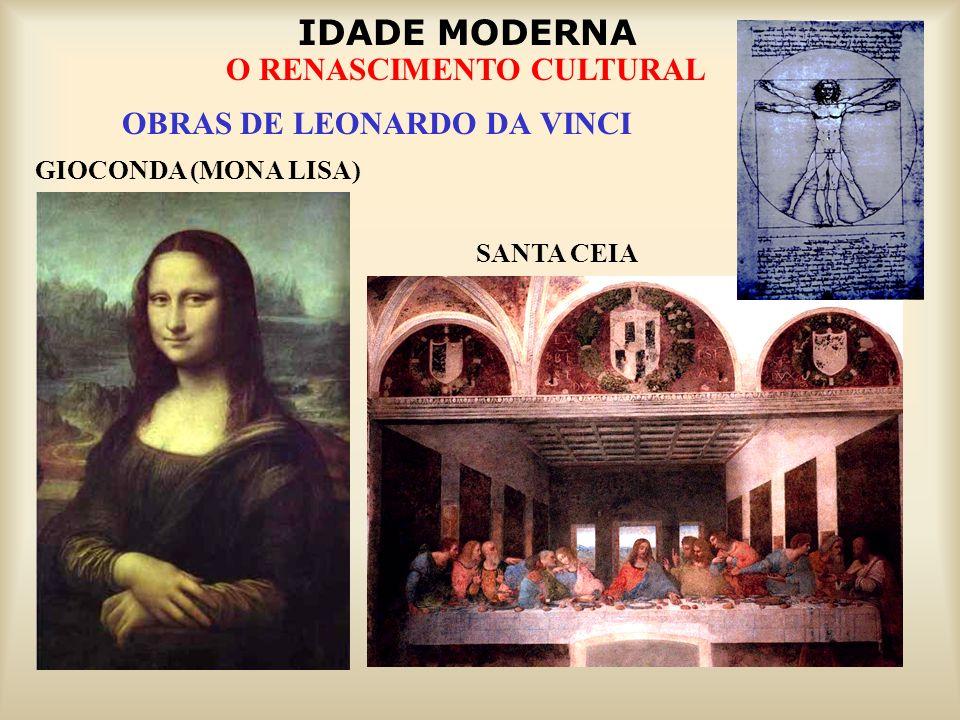IDADE MODERNA O RENASCIMENTO CULTURAL OBRAS DE LEONARDO DA VINCI GIOCONDA (MONA LISA) SANTA CEIA