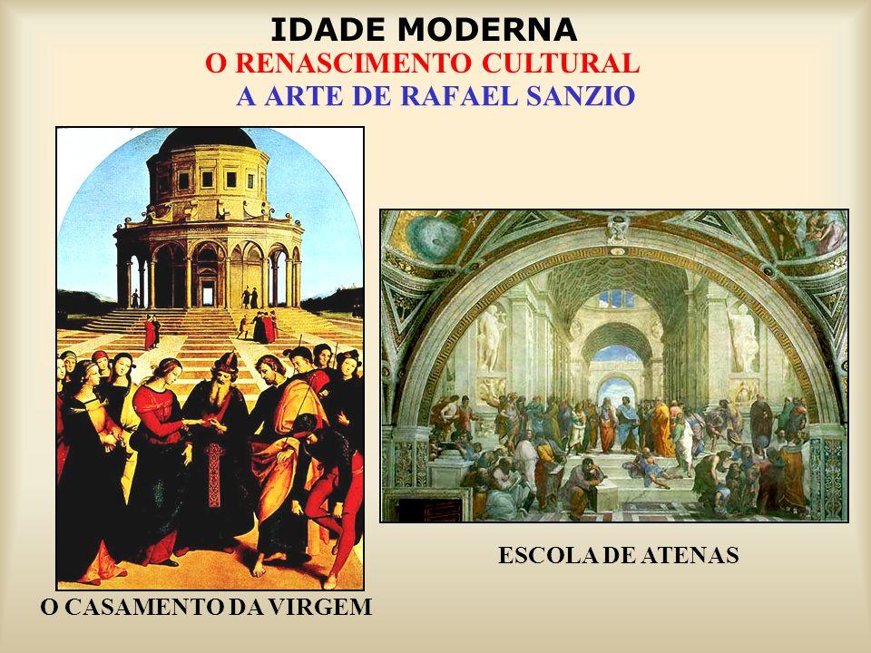 IDADE MODERNA O RENASCIMENTO CULTURAL A ARTE DE RAFAEL SANZIO ESCOLA DE ATENAS O CASAMENTO DA VIRGEM
