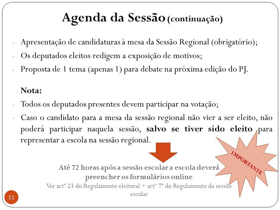 11 Agenda da Sessão (continuação) - Apresentação de candidaturas à mesa da Sessão Regional (obrigatório); - Os deputados eleitos redigem a exposição de motivos; - Proposta de 1 tema (apenas 1) para debate na próxima edição do PJ.