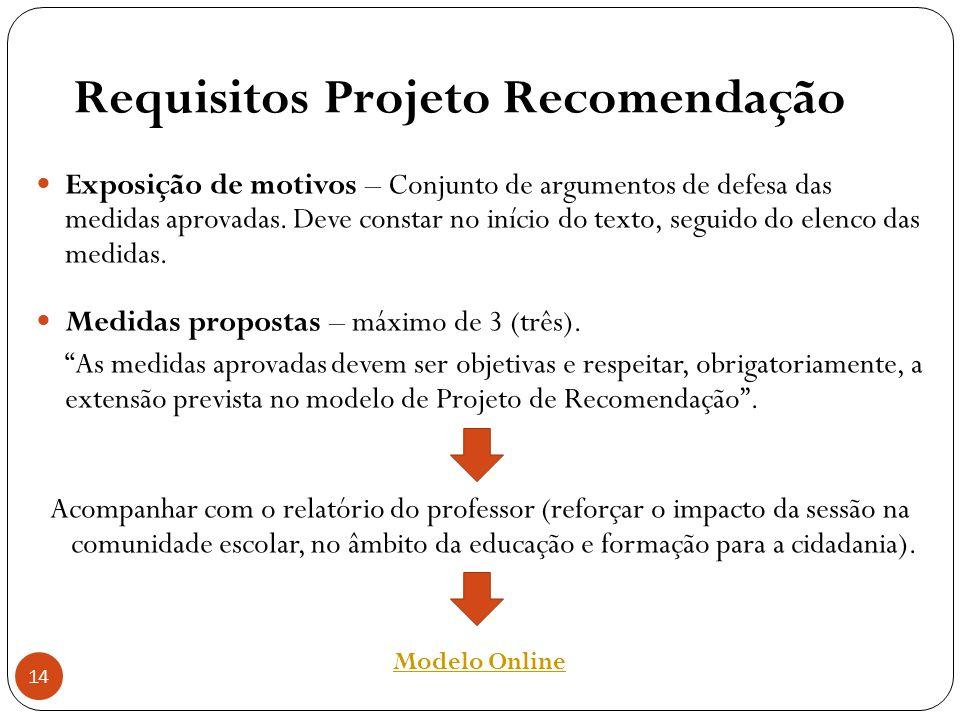 14 Requisitos Projeto Recomendação Exposição de motivos – Conjunto de argumentos de defesa das medidas aprovadas. Deve constar no início do texto, seg