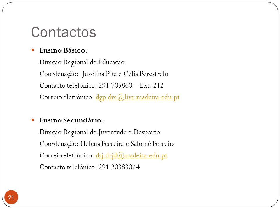 Contactos Ensino Básico: Direção Regional de Educação Coordenação: Juvelina Pita e Célia Perestrelo Contacto telefónico: 291 705860 – Ext.