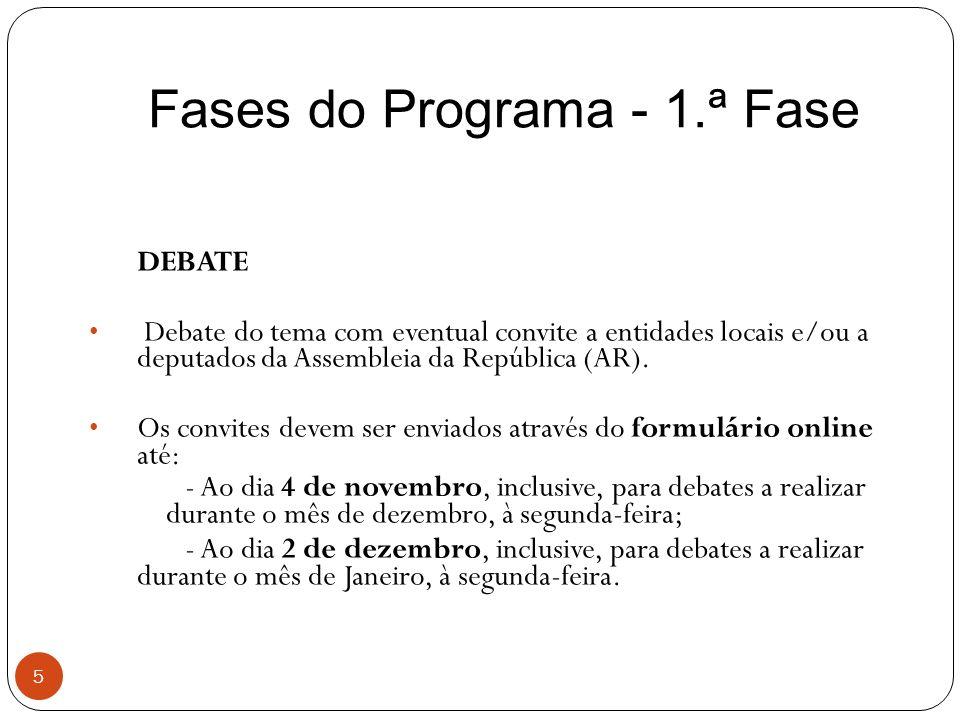 Fases do Programa - 1.ª Fase 5 DEBATE Debate do tema com eventual convite a entidades locais e/ou a deputados da Assembleia da República (AR). Os conv