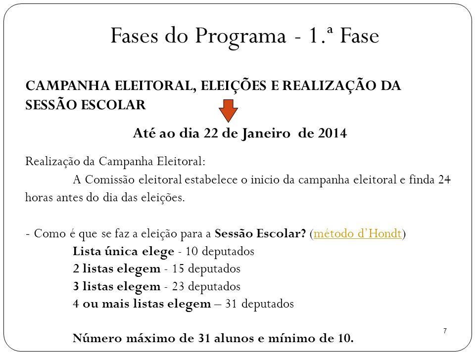 7 CAMPANHA ELEITORAL, ELEIÇÕES E REALIZAÇÃO DA SESSÃO ESCOLAR Até ao dia 22 de Janeiro de 2014 Realização da Campanha Eleitoral: A Comissão eleitoral estabelece o inicio da campanha eleitoral e finda 24 horas antes do dia das eleições.
