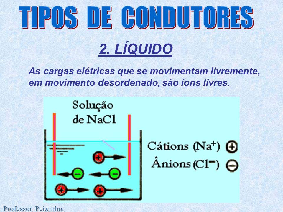 2. LÍQUIDO As cargas elétricas que se movimentam livremente, em movimento desordenado, são íons livres.