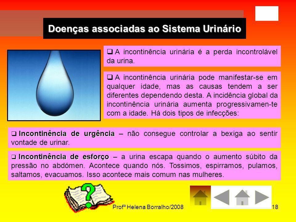 Profª Helena Borralho/200818 Doenças associadas ao Sistema Urinário A incontinência urinária é a perda incontrolável da urina. A incontinência urinári