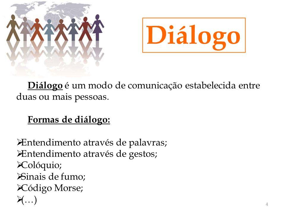 Diálogo Diálogo é um modo de comunicação estabelecida entre duas ou mais pessoas. Formas de diálogo: Entendimento através de palavras; Entendimento at