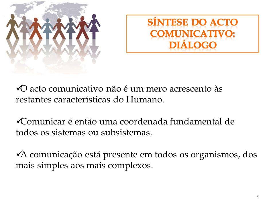 O acto comunicativo não é um mero acrescento às restantes características do Humano. Comunicar é então uma coordenada fundamental de todos os sistemas