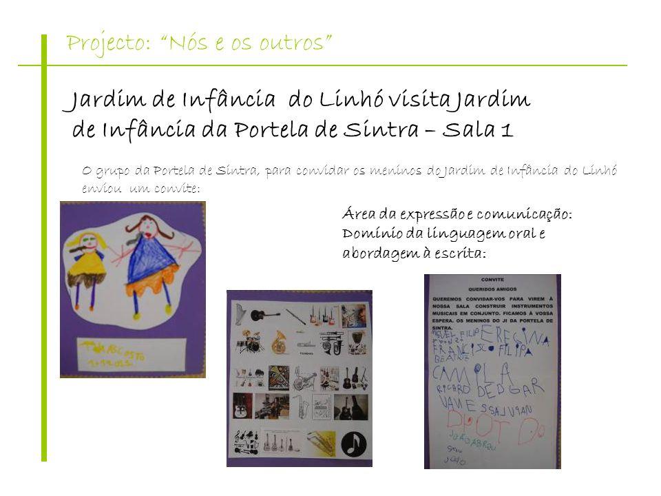 Projecto: Nós e os outros Jardim de Infância do Linhó visita Jardim de Infância da Portela de Sintra – Sala 1 O grupo da Portela de Sintra, para convi