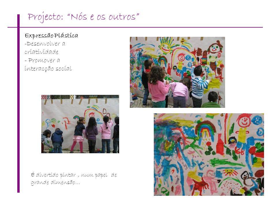 É divertido pintar, num papel de grande dimensão… Expressão Plástica -Desenvolver a criatividade - Promover a interacção social Projecto: Nós e os out