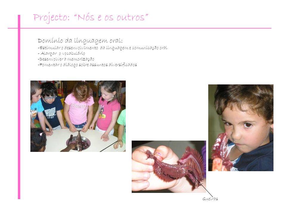 Guelras Domínio da linguagem oral: -Estimular o desenvolvimento da linguagem e comunicação oral - Alargar o vocabulário -Desenvolver a memorização -Fo