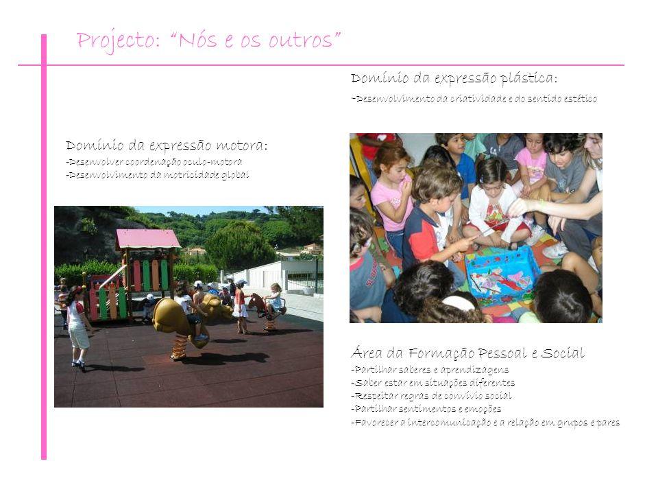 Domínio da expressão motora: -Desenvolver coordenação oculo-motora -Desenvolvimento da motricidade global Área da Formação Pessoal e Social -Partilhar