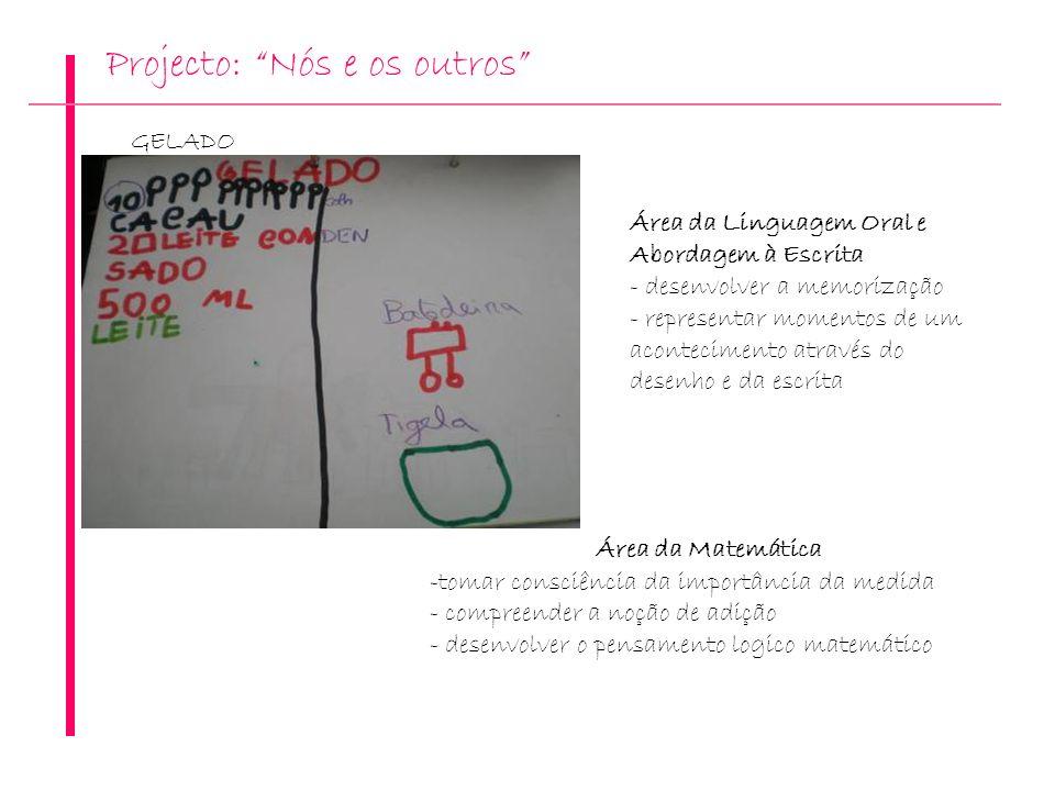 Projecto: Nós e os outros GELADO Área da Matemática -tomar consciência da importância da medida - compreender a noção de adição - desenvolver o pensam