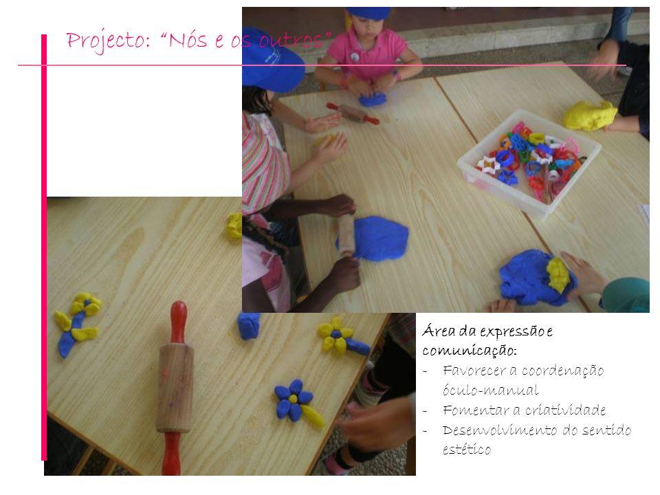 Projecto: Nós e os outros Área da expressão e comunicação: -Favorecer a coordenação óculo-manual -Fomentar a criatividade -Desenvolvimento do sentido