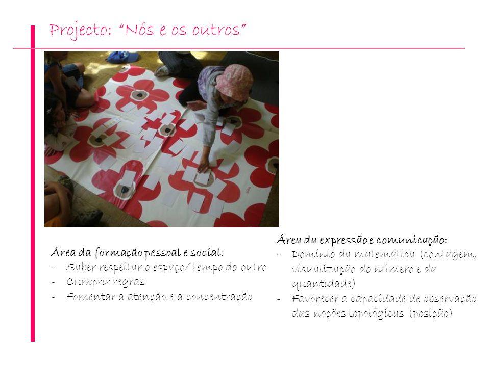 Projecto: Nós e os outros Área da expressão e comunicação: -Domínio da matemática (contagem, visualização do número e da quantidade) -Favorecer a capa