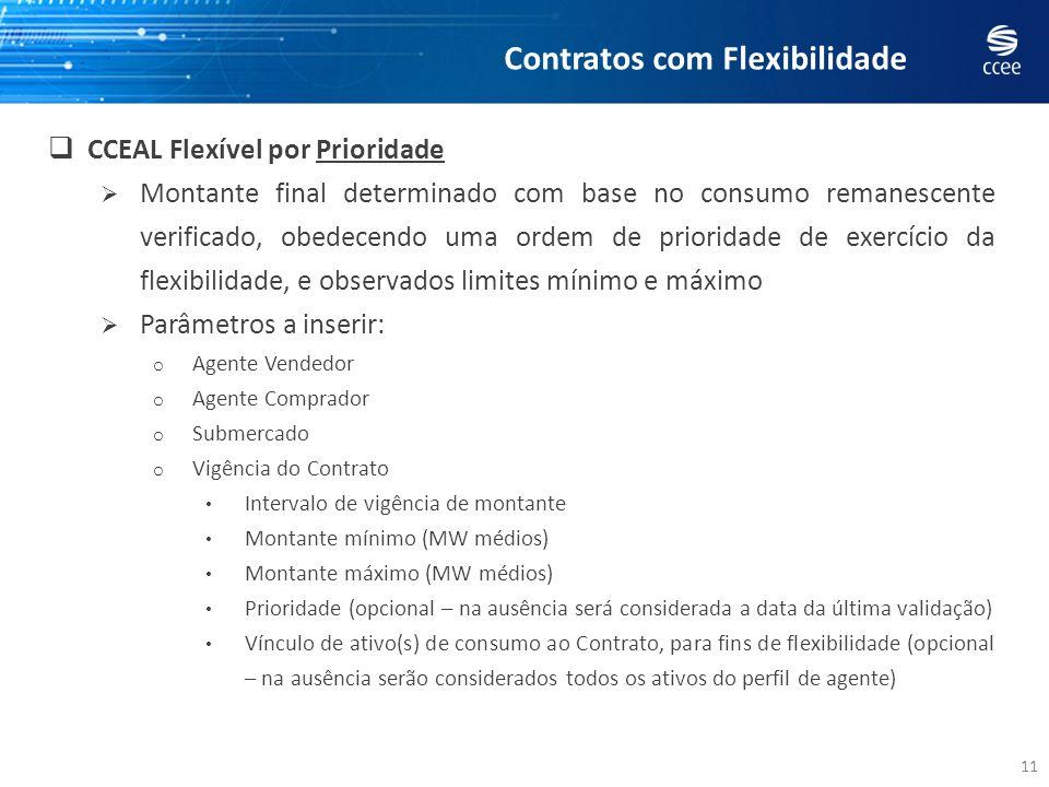 11 CCEAL Flexível por Prioridade Montante final determinado com base no consumo remanescente verificado, obedecendo uma ordem de prioridade de exercíc