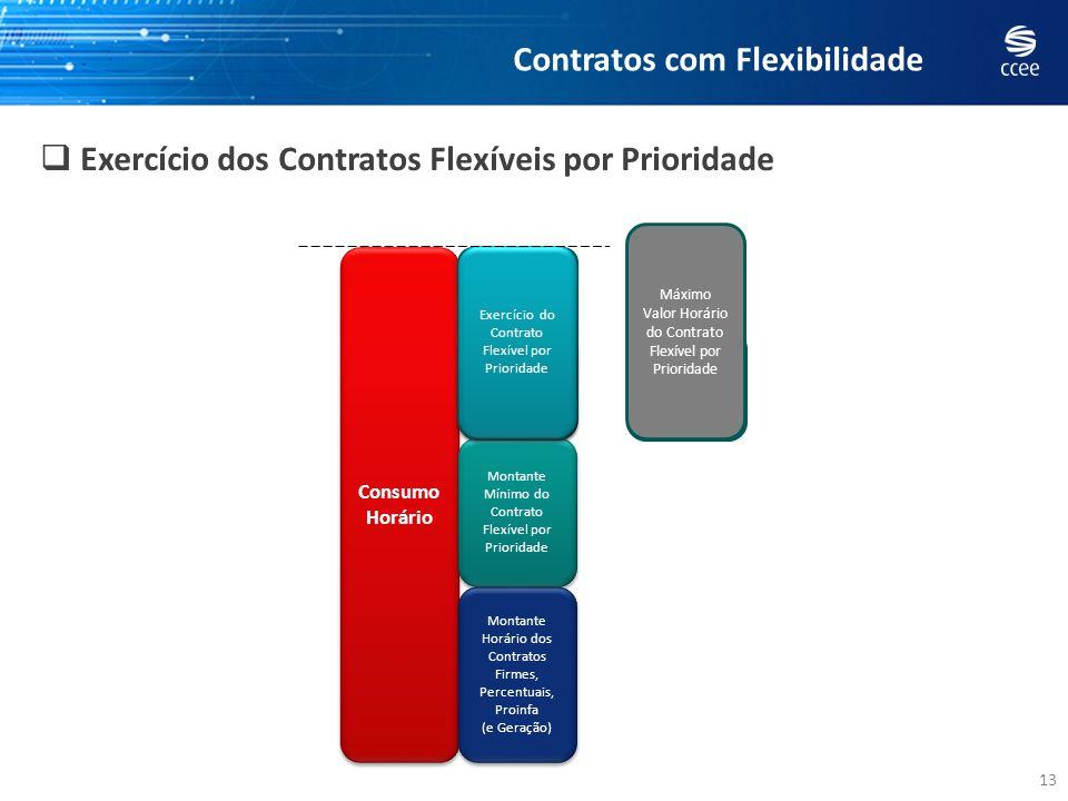 13 Exercício dos Contratos Flexíveis por Prioridade Consumo Horário Consumo Horário Montante Horário dos Contratos Firmes, Percentuais, Proinfa (e Ger
