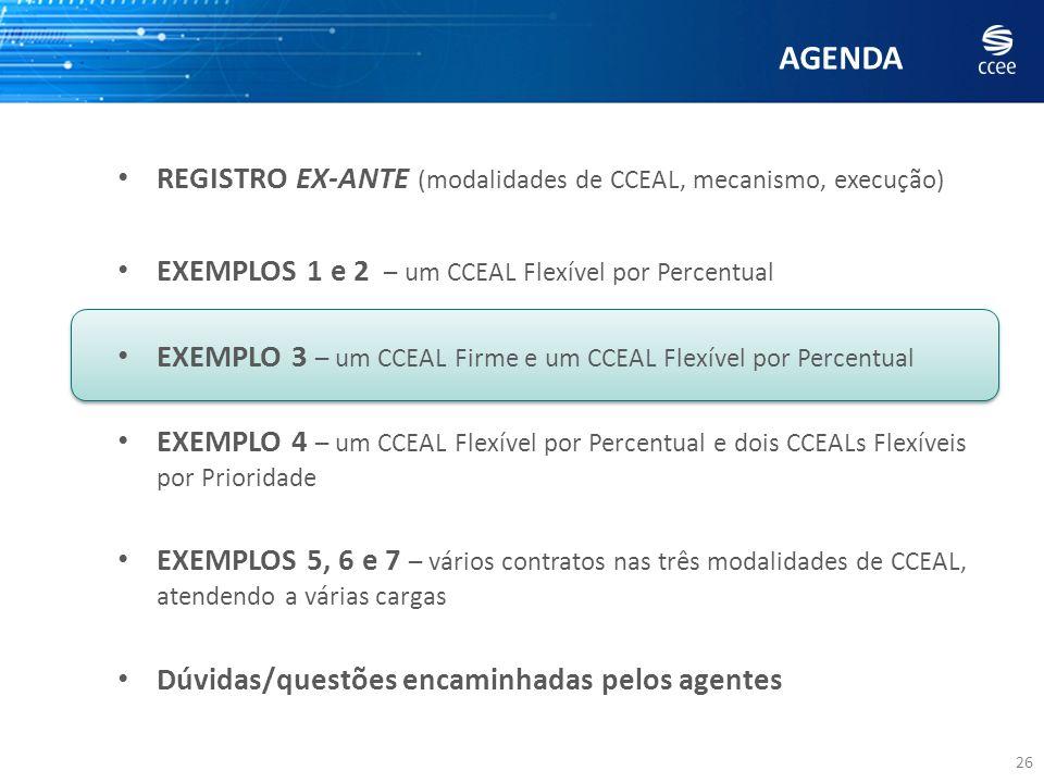 AGENDA 26 REGISTRO EX-ANTE (modalidades de CCEAL, mecanismo, execução) EXEMPLOS 1 e 2 – um CCEAL Flexível por Percentual EXEMPLO 3 – um CCEAL Firme e