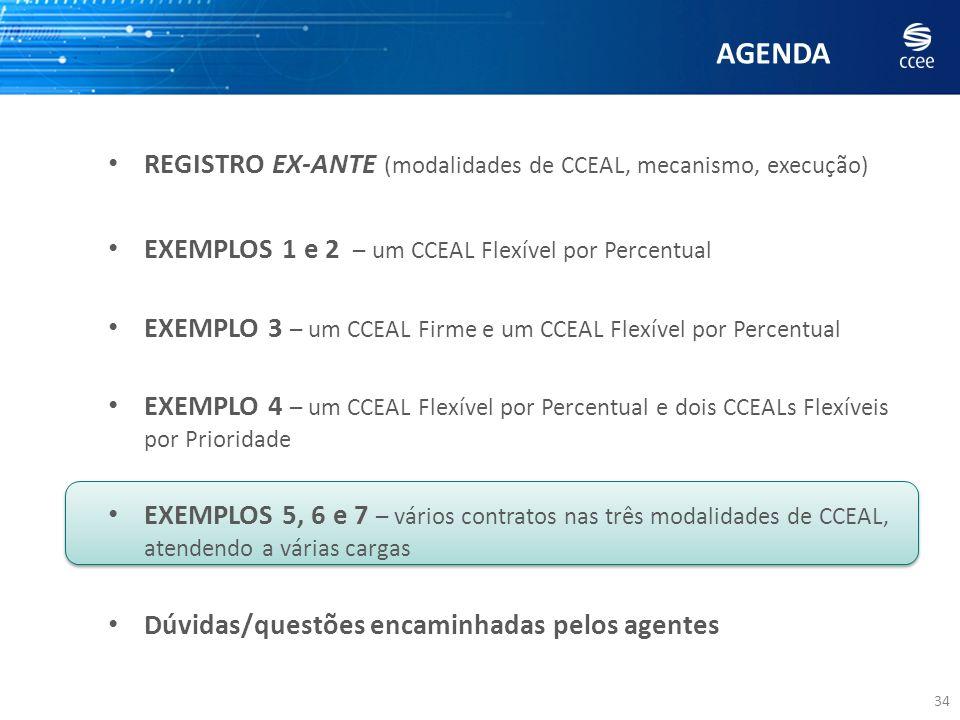 AGENDA 34 REGISTRO EX-ANTE (modalidades de CCEAL, mecanismo, execução) EXEMPLOS 1 e 2 – um CCEAL Flexível por Percentual EXEMPLO 3 – um CCEAL Firme e