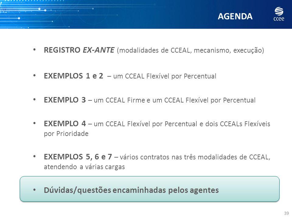 AGENDA 39 REGISTRO EX-ANTE (modalidades de CCEAL, mecanismo, execução) EXEMPLOS 1 e 2 – um CCEAL Flexível por Percentual EXEMPLO 3 – um CCEAL Firme e