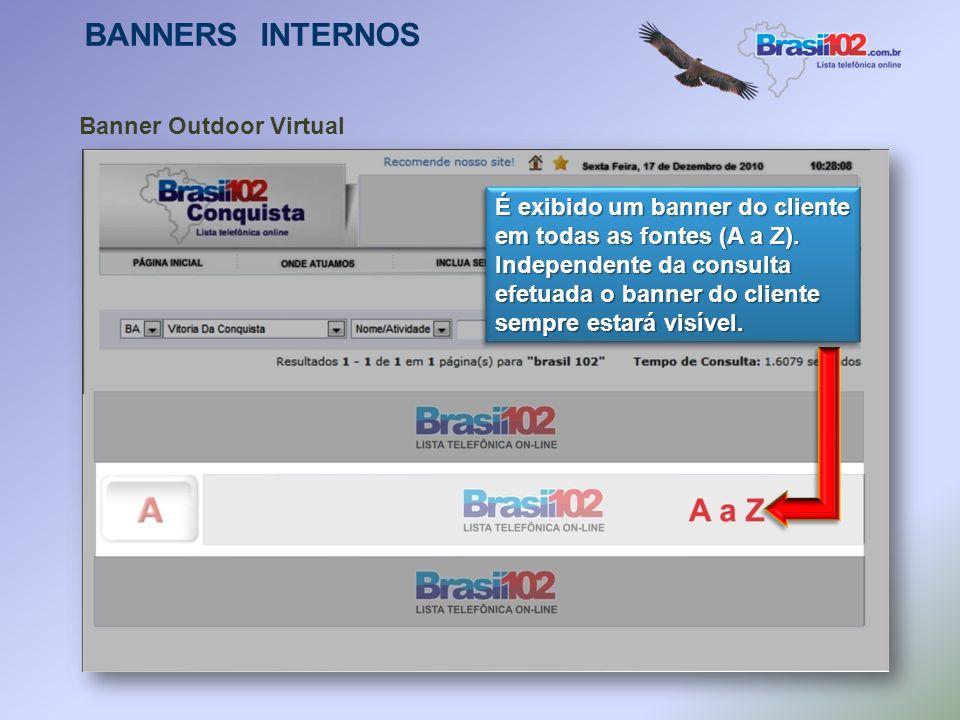 BANNERS INTERNOS Banner Fonte O cliente escolhe uma ou mais letras do alfabeto onde mais letras do alfabeto onde sua empresa aparece sempre em evidênc