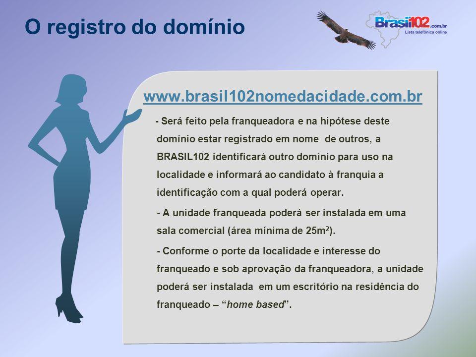 O registro do domínio www.brasil102nomedacidade.com.br - Será feito pela franqueadora e na hipótese deste domínio estar registrado em nome de outros, a BRASIL102 identificará outro domínio para uso na localidade e informará ao candidato à franquia a identificação com a qual poderá operar.